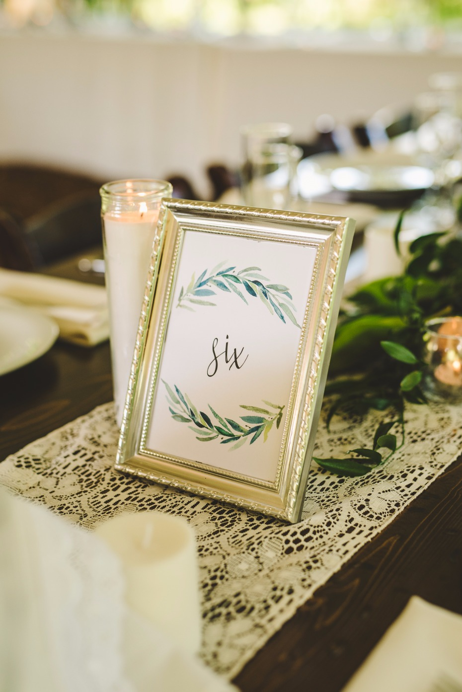 framed greenery inspired table numbers