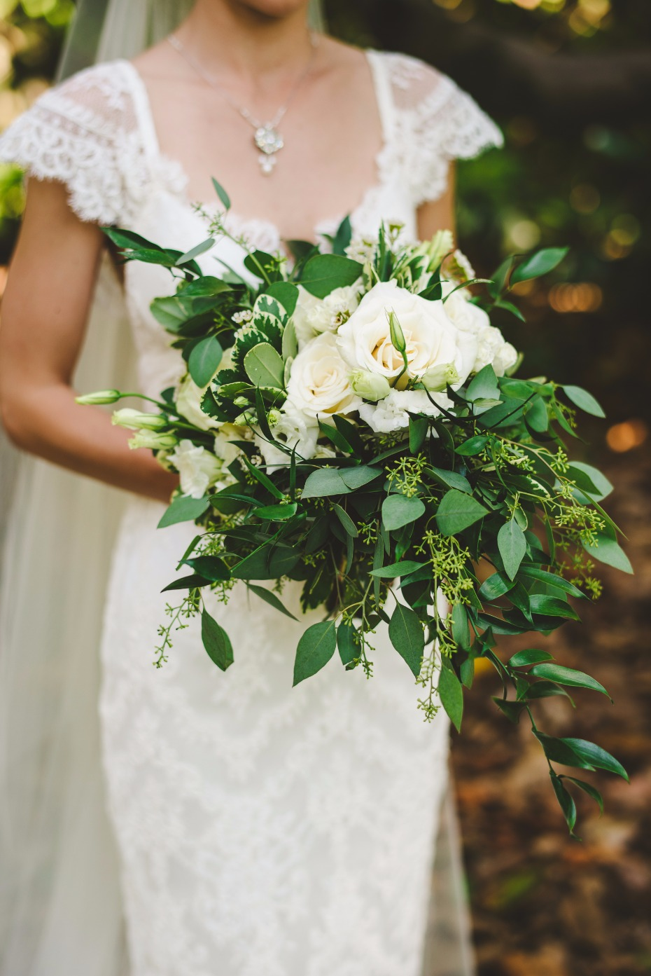 greenery and white rose bouquet