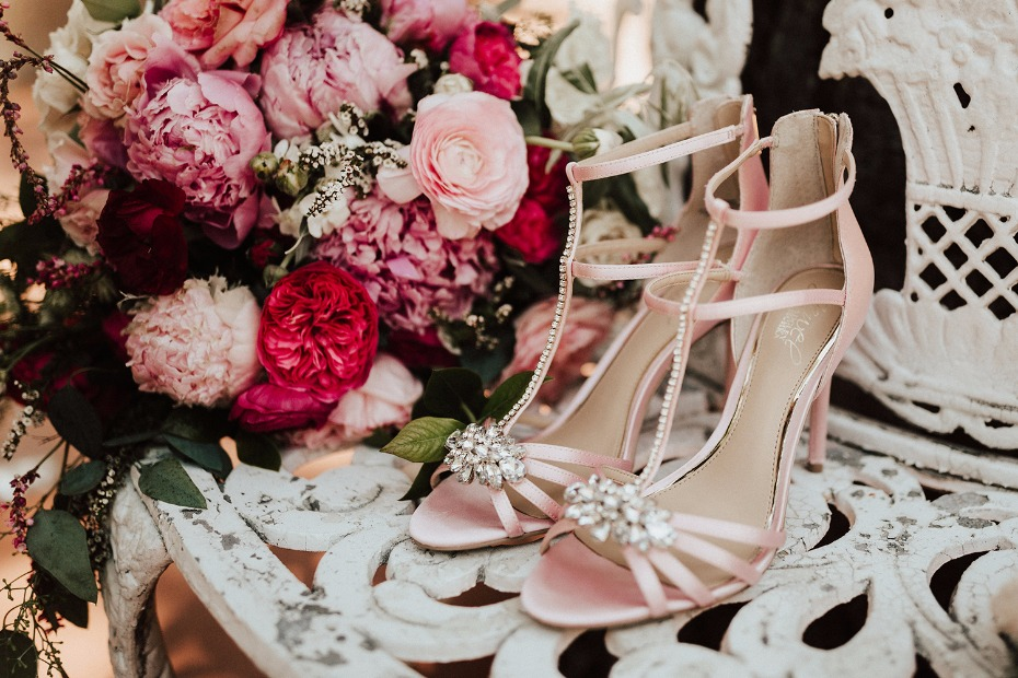 pink strappy wedding shoes