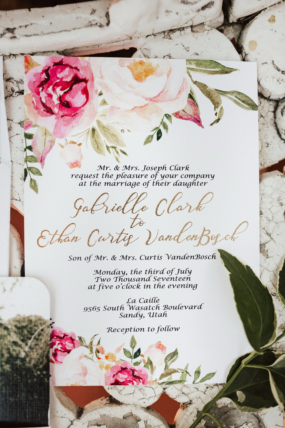 floral themed wedding invitation