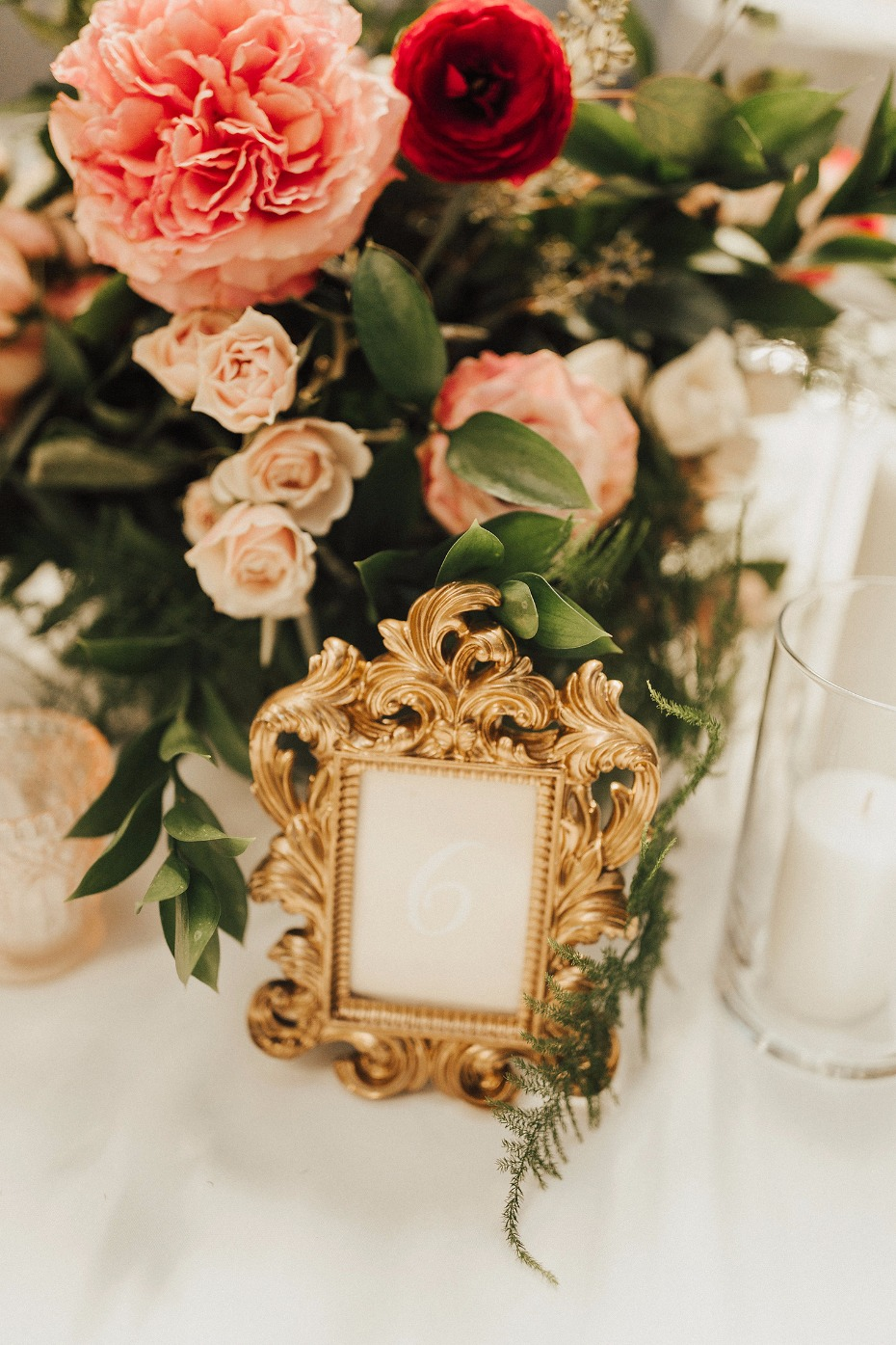 gold glam framed wedding table numbers