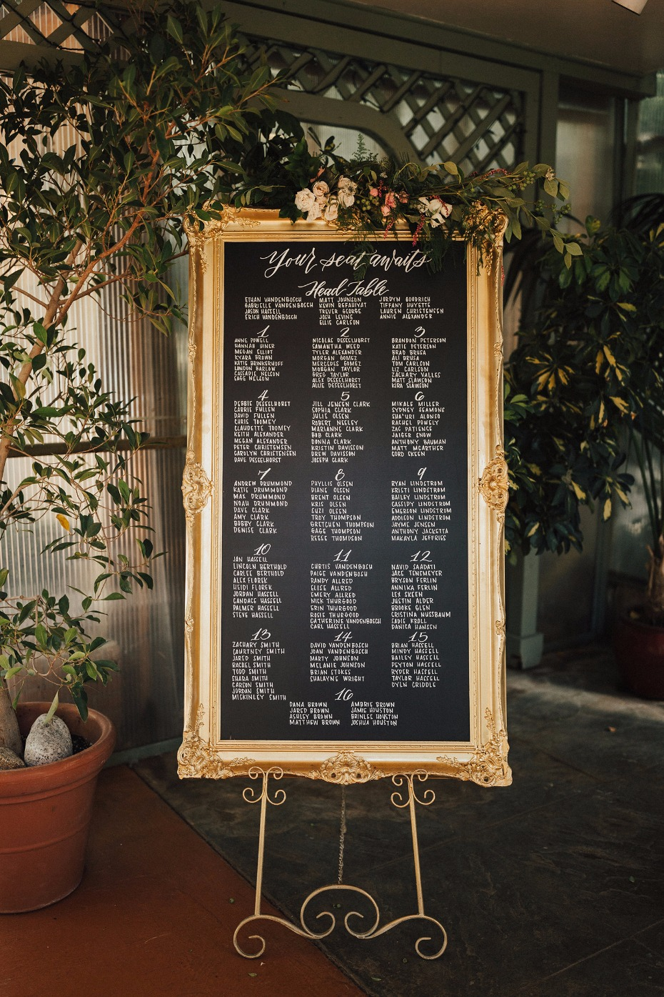 glam gold framed wedding seating chart