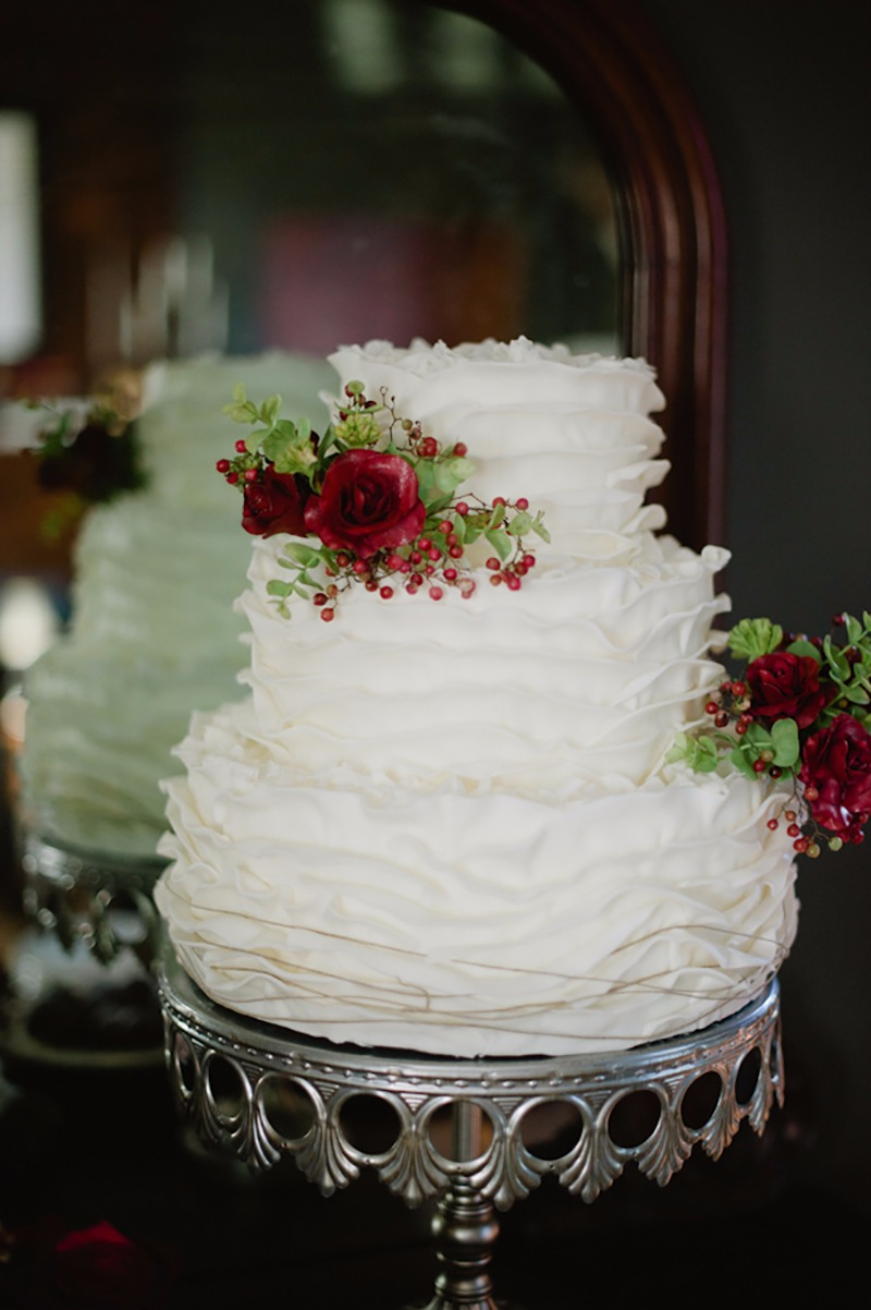 Winter White wedding cake ~ tiered ruffled frosting! Silver Metal Cake Stand created by Opulent Treasures
