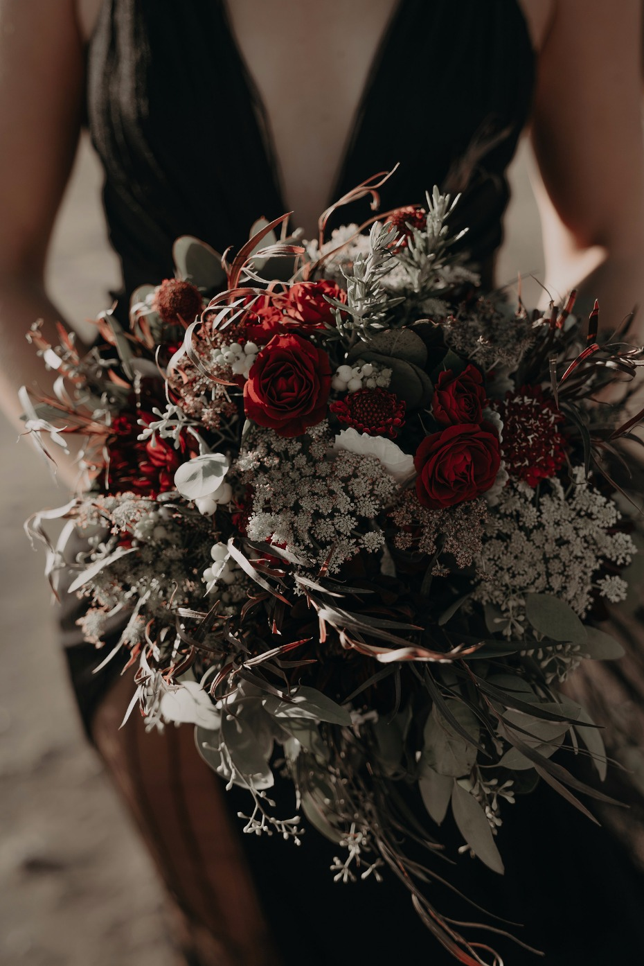 autumn themed red Fall wedding bouquet