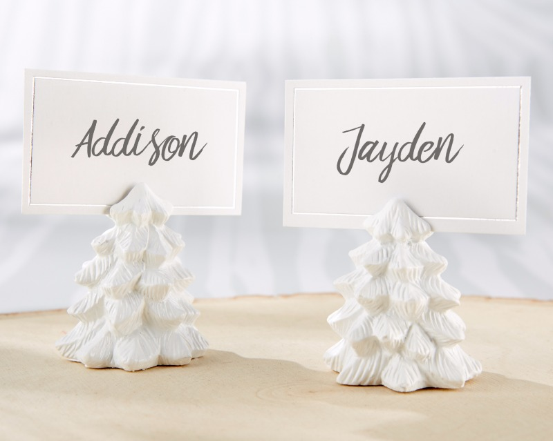 With white and silver place cards these White Pine Tree Place Card Holder brings a touch of seasonal whimsy to your winter wedding
