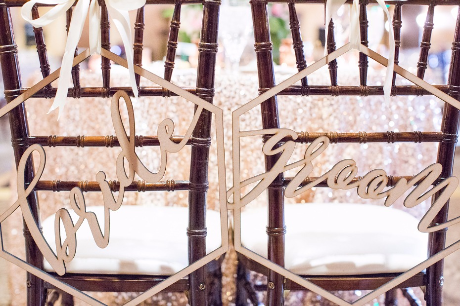 modern laser cut bride and groom seat signs