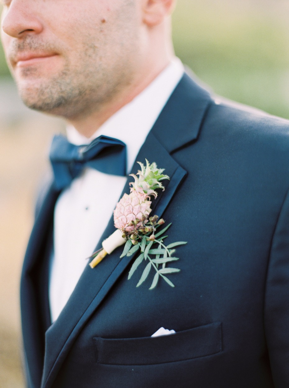 mini pineapple grooms boutonniere