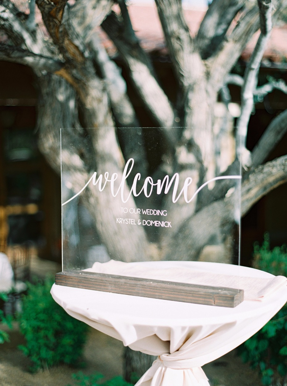 plexiglass wedding welcome sign