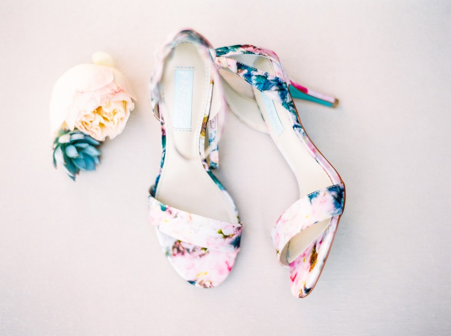 floral watercolor themed wedding shoes
