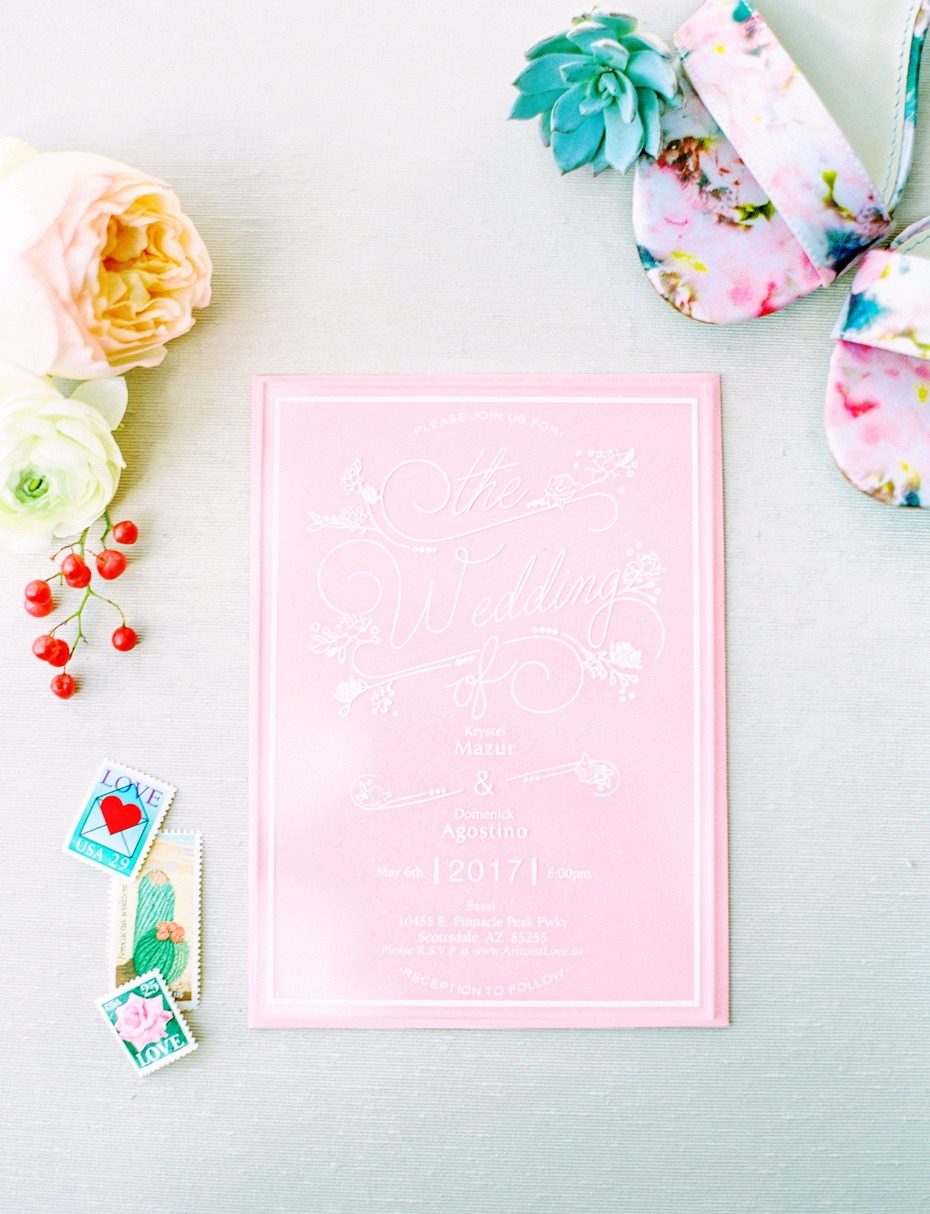 bright pink wedding invitation