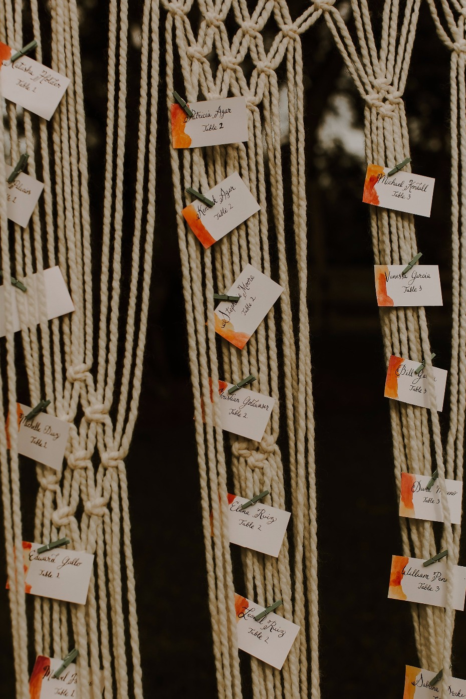 Macrame Seating chart idea