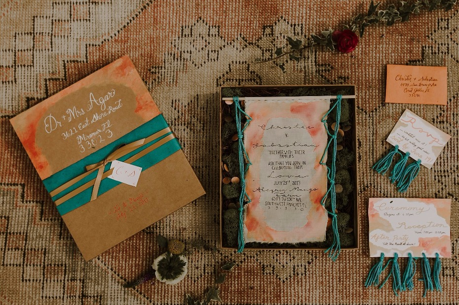 Colorful boho invitation suite