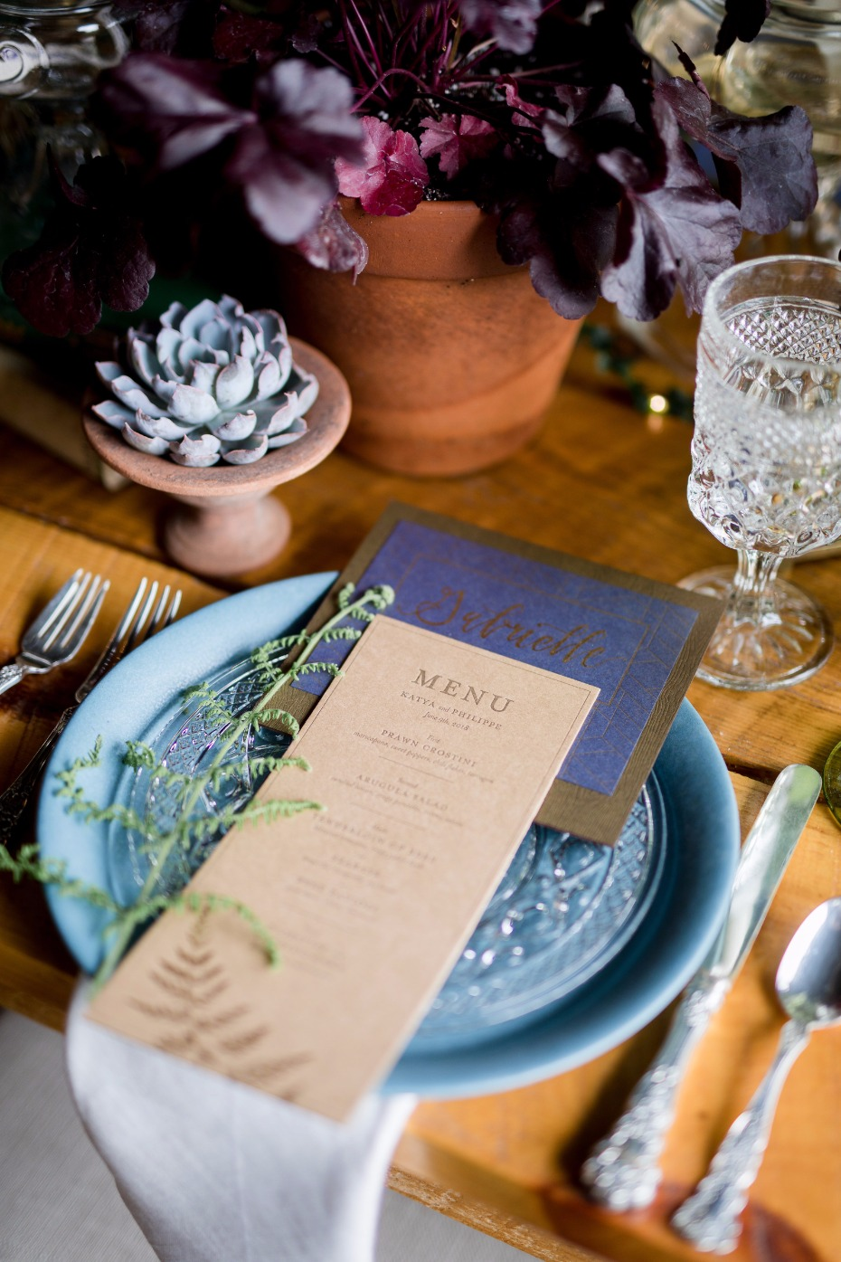 letterpressed wedding menu and place cards make your day extra special