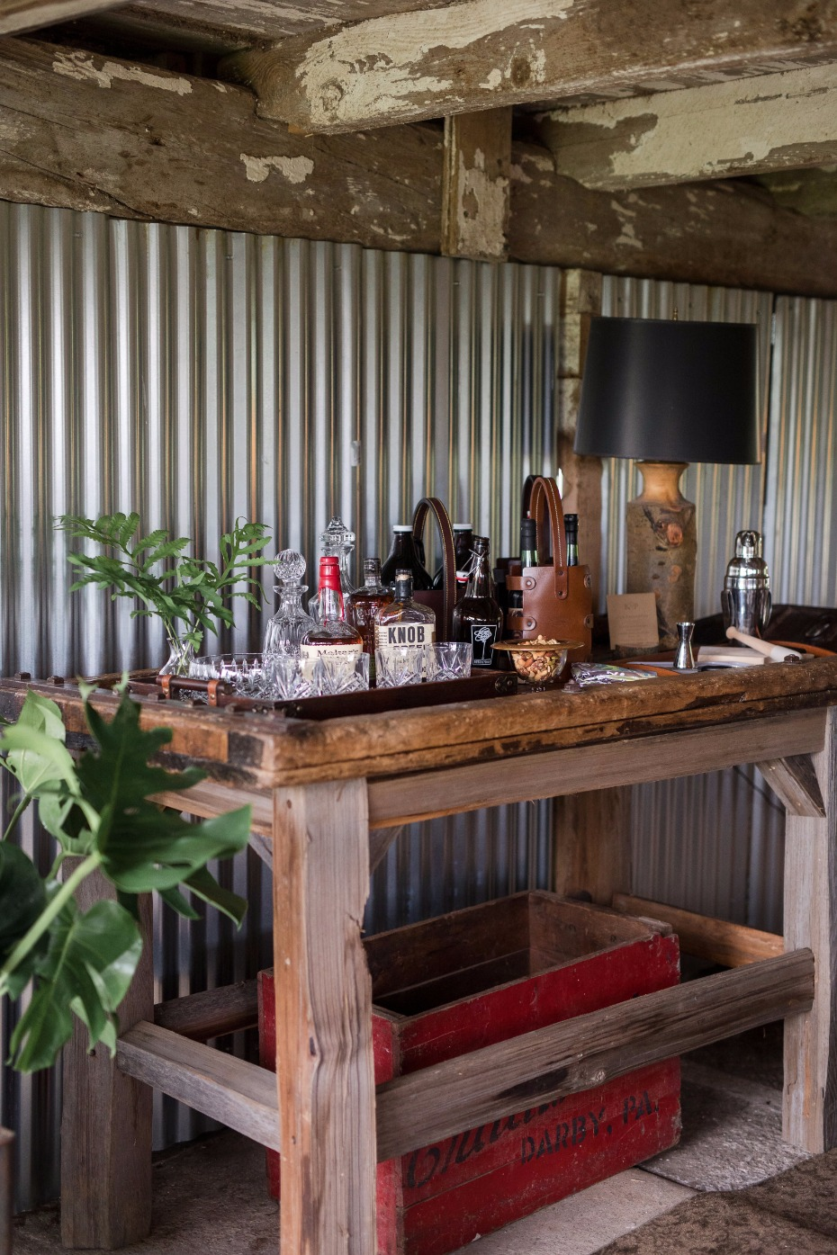 masculine bar idea for the groomsmen getting ready space
