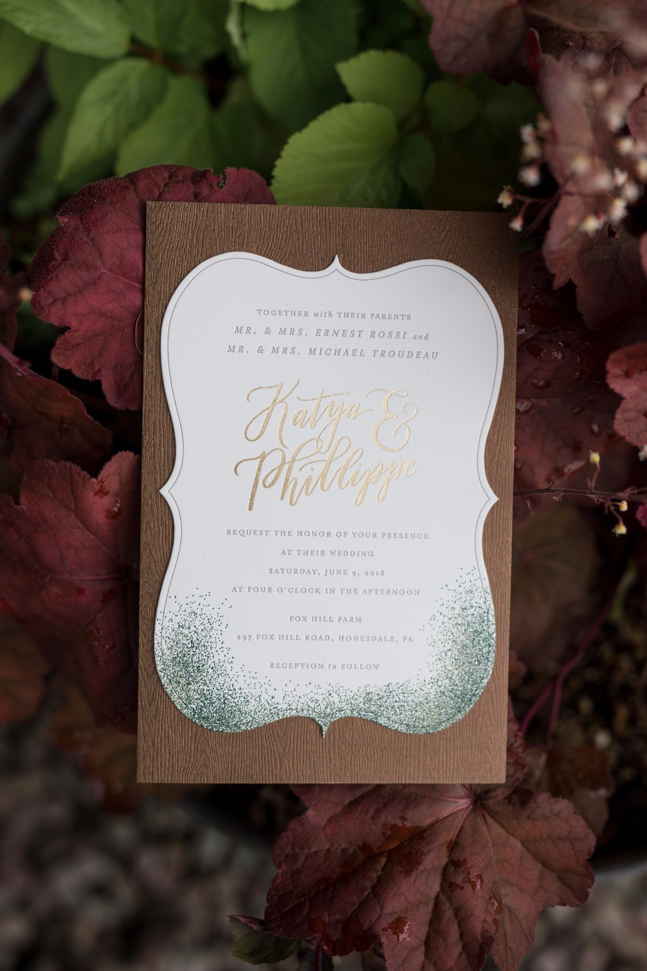 gold leaf wedding invitations.