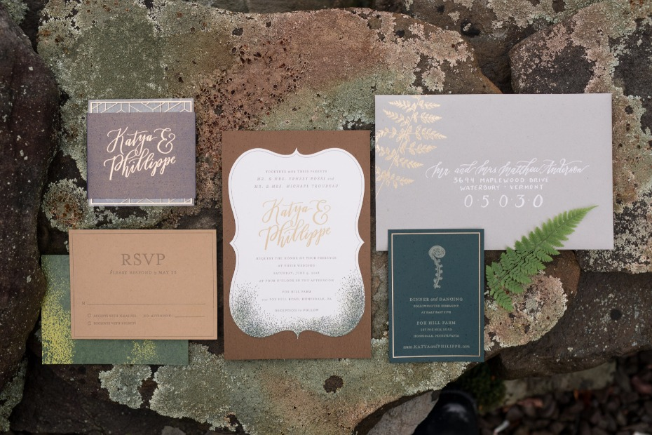 rustic chic letterpress wedding invitations