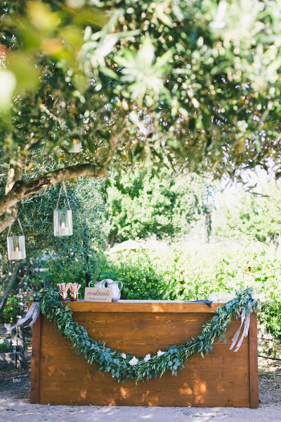 Rustic bar with garland