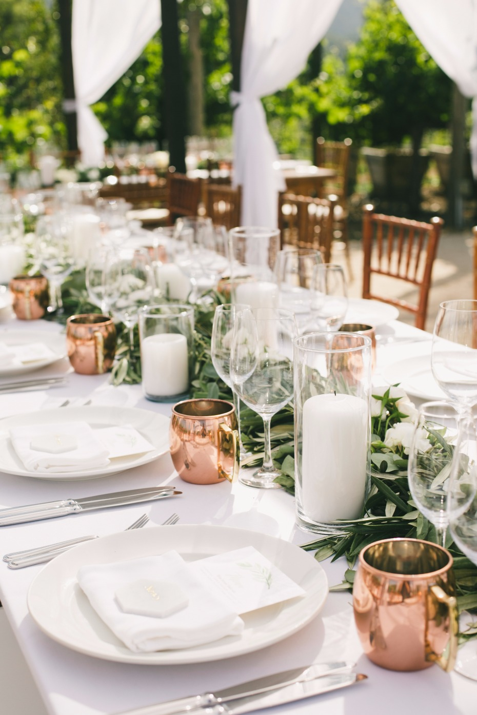 white, green and copper table decor