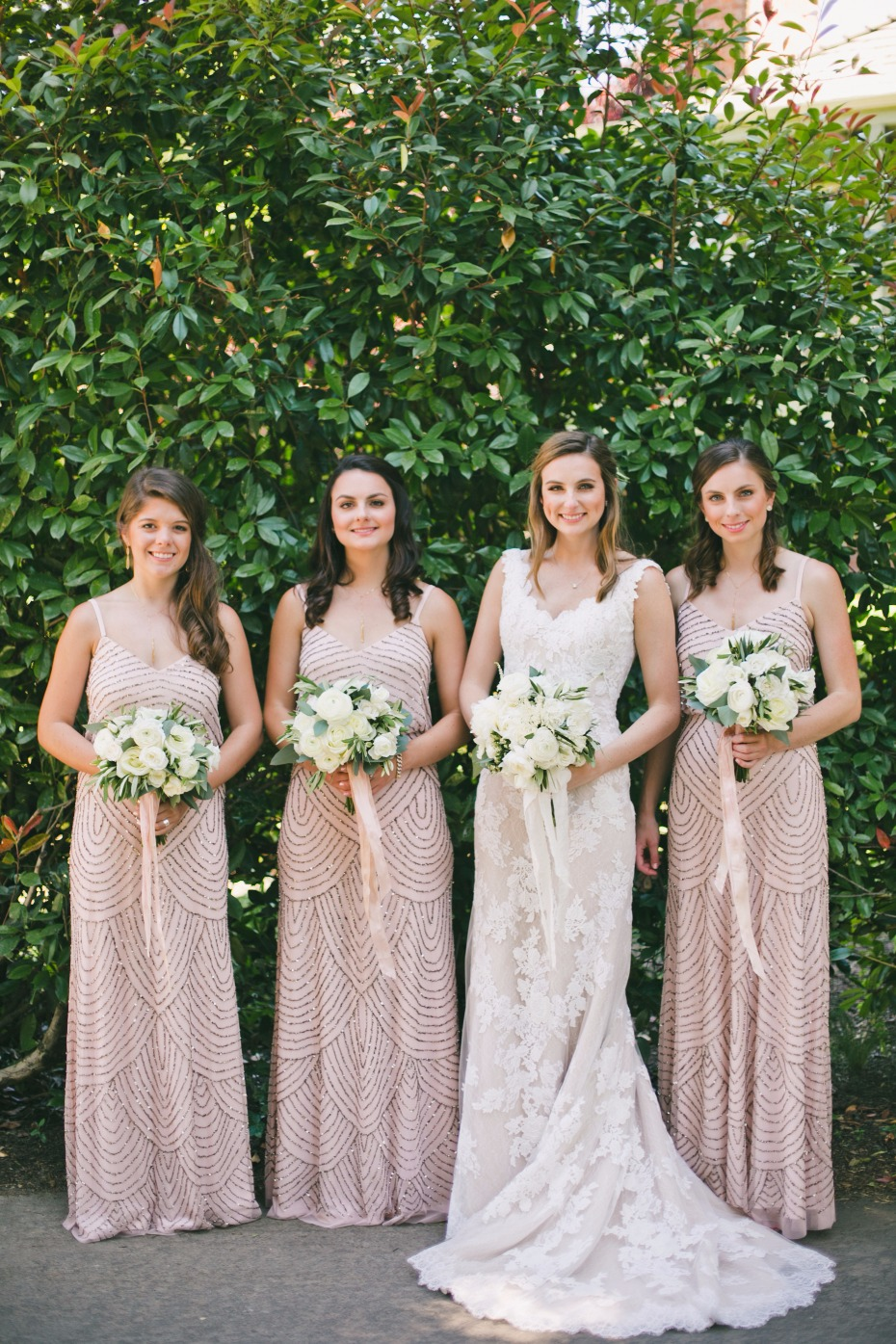 Adrianna Papell bridesmaid dresses in blush