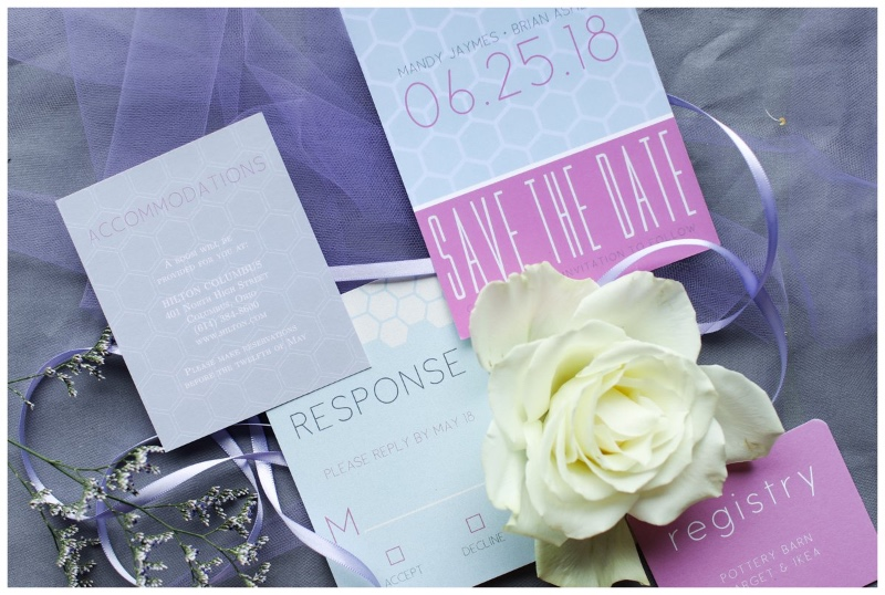 Our Geometric Love wedding suite is making us feel pretty in pink! Choose from over 180 colors to customize this look to your match