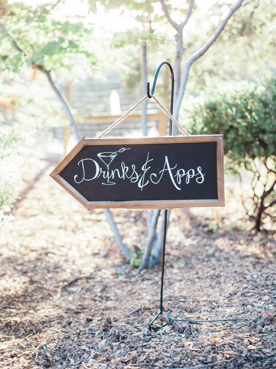 cute chalkboard drinks and apps wedding sign