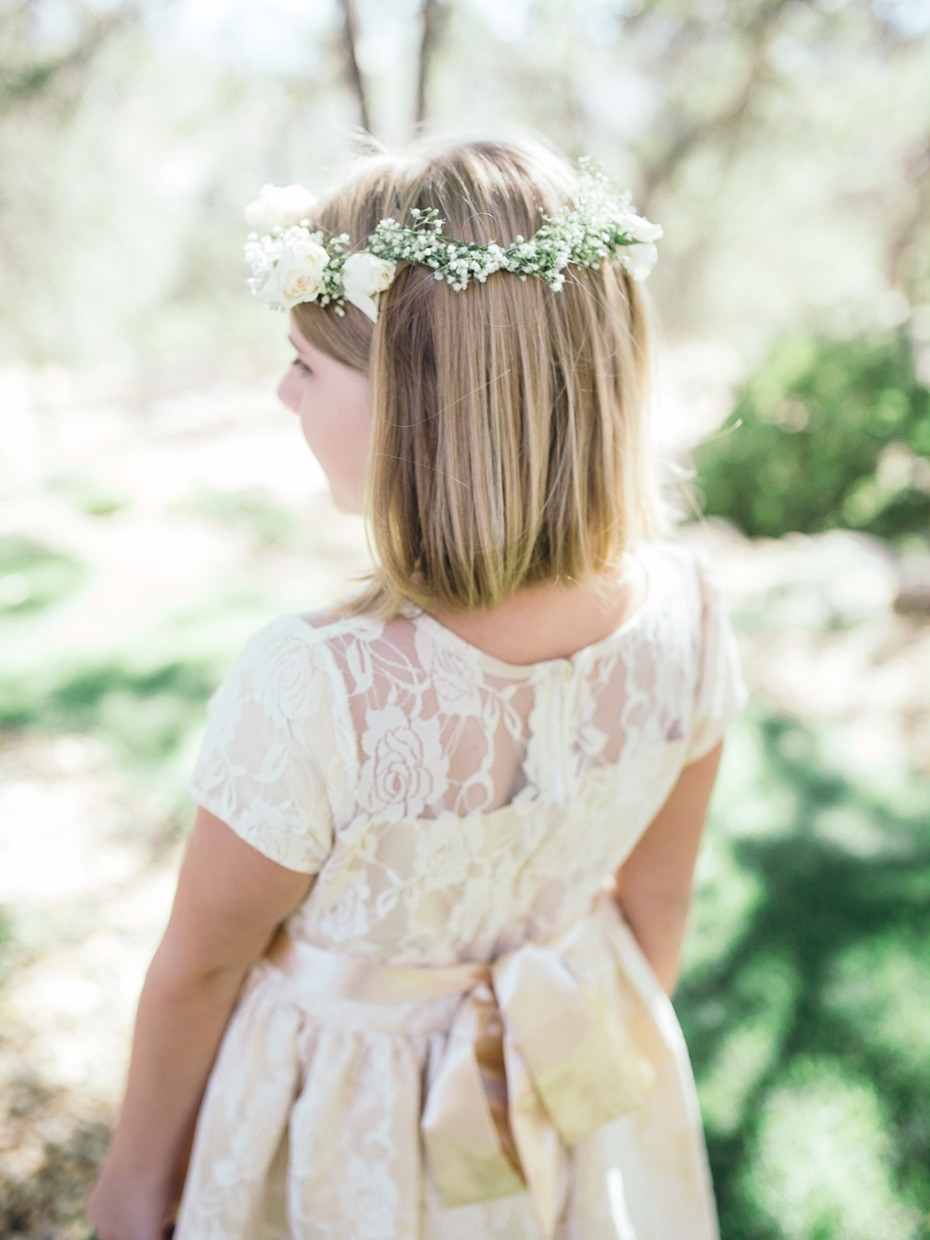 flower girl with rose and babys breath halo
