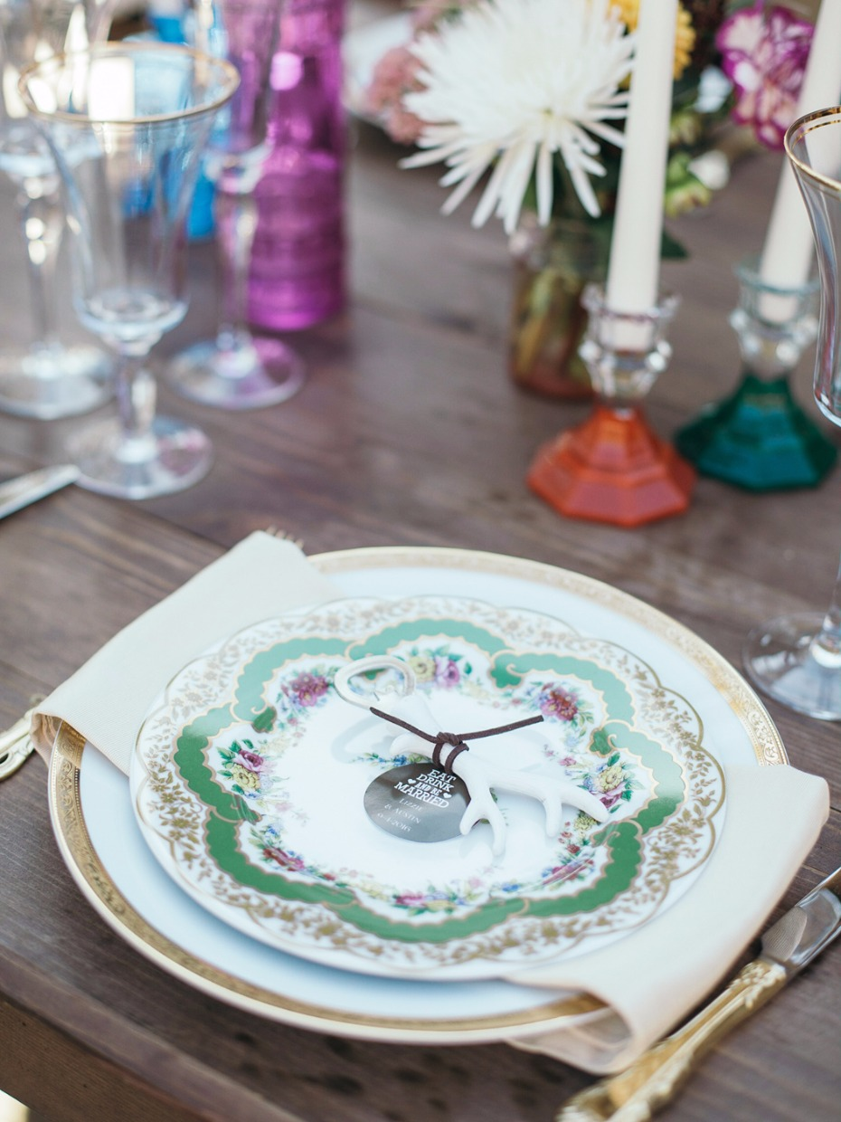 vintage patterned china wedding place settings