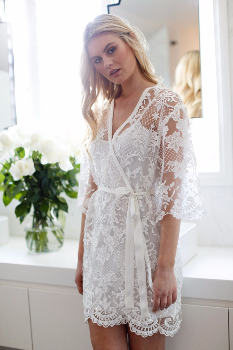 The Celeste Lace Bridal robe is the perfect robe for the Bride to wear on her wedding morning and well again and again