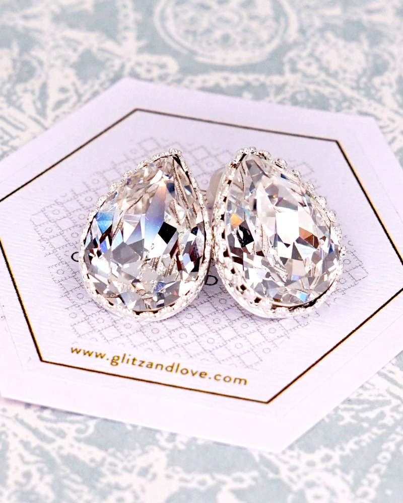 Swarovski Teardrop Crystal Studs, brides, bridal, wedding, bridesmaid, earrings, jewelry, gifts for her, teardrop, christmas gifts