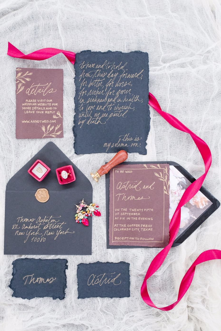 gold calligraphy jewel tone wedding stationery
