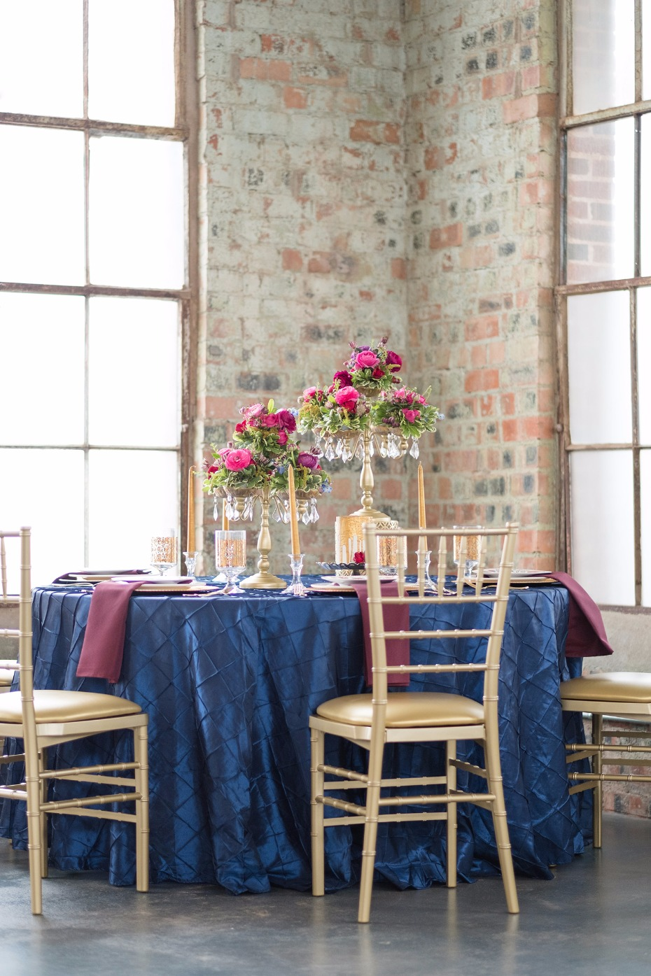jewel tone wedding table in ruby sapphire and gold accents