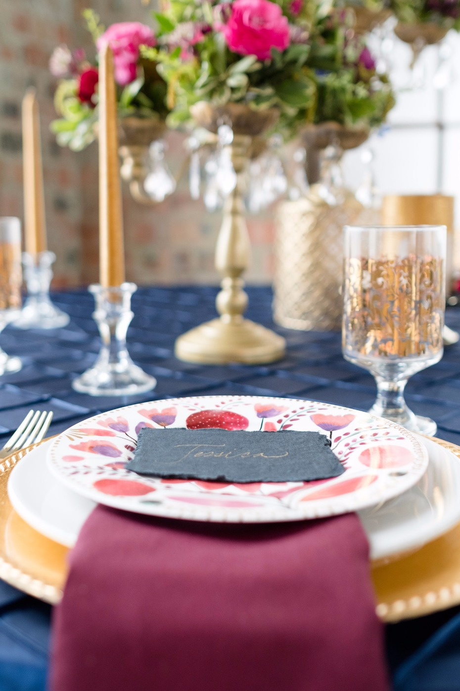 gold and jewel tone wedding table decor