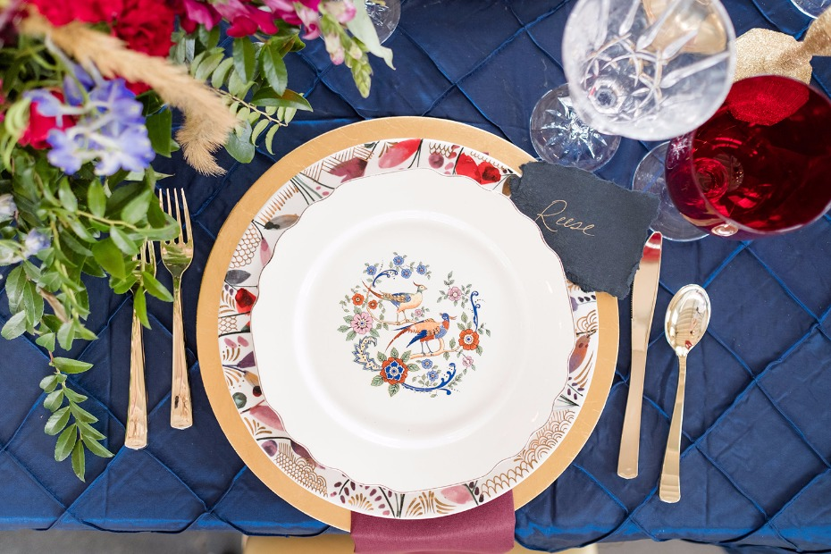 fun printed china for your fall wedding table place settings