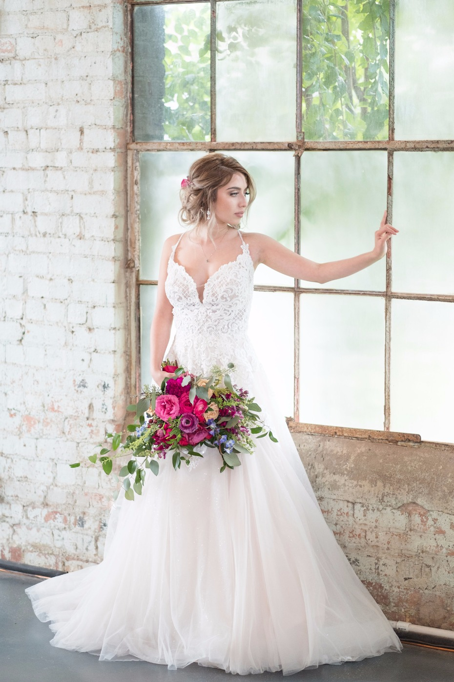 frothy tulle wedding gown