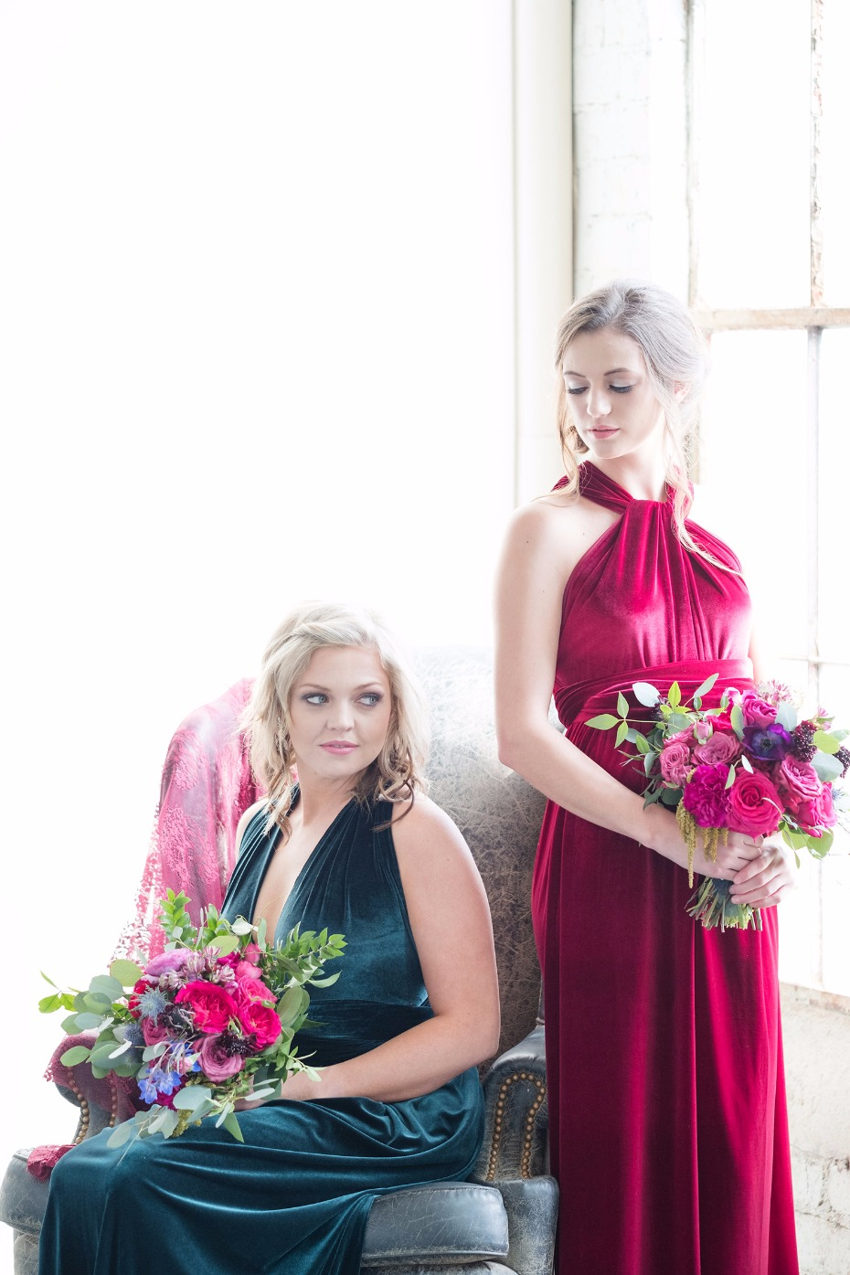 jewel tone bridesmaids dresses in lush velvet