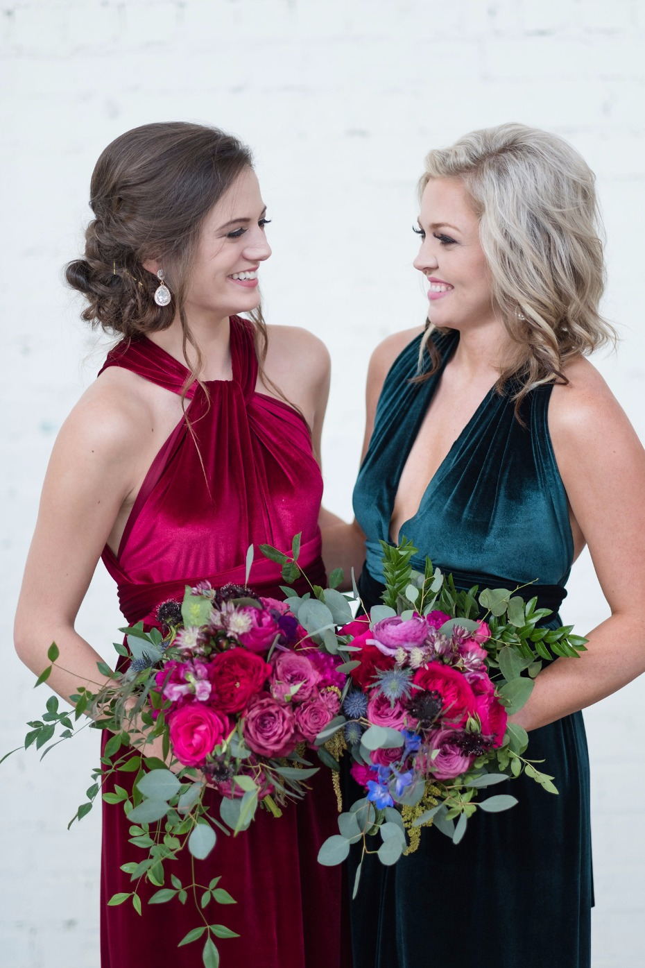 late fall wedding bridesmaids in velvet dresses