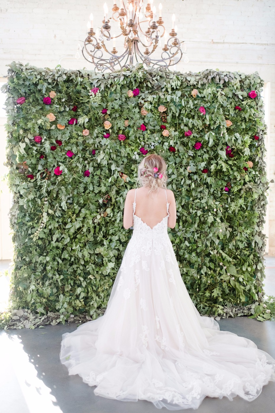 wedding dress dreams and romantic rose wall