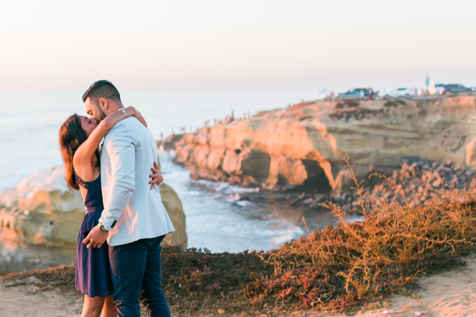 engagement shoot at sunset in San Diego