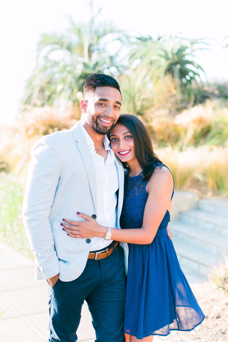 blue and grey engagement shoot outfits