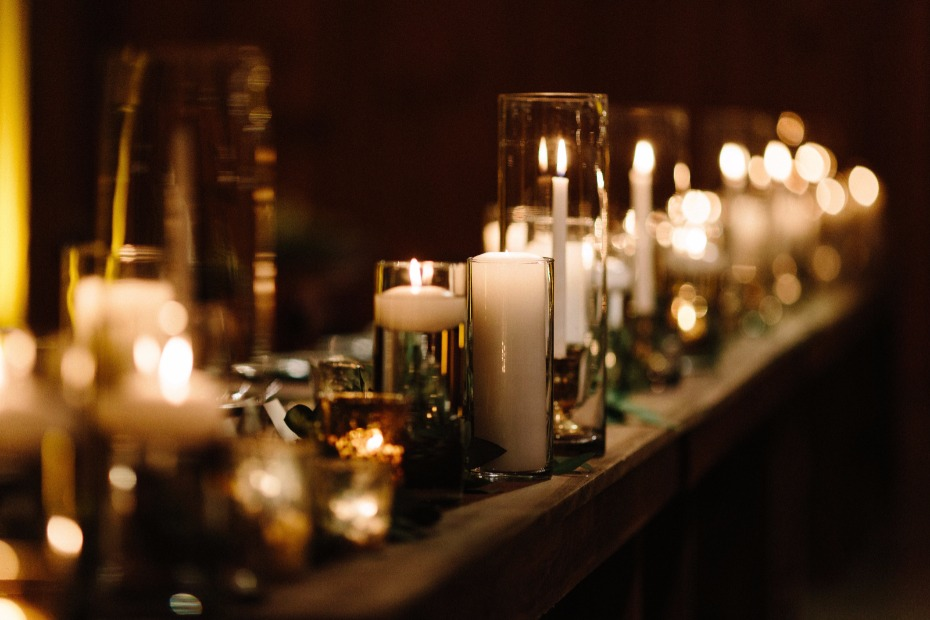 candle lit wedding reception for extra romance
