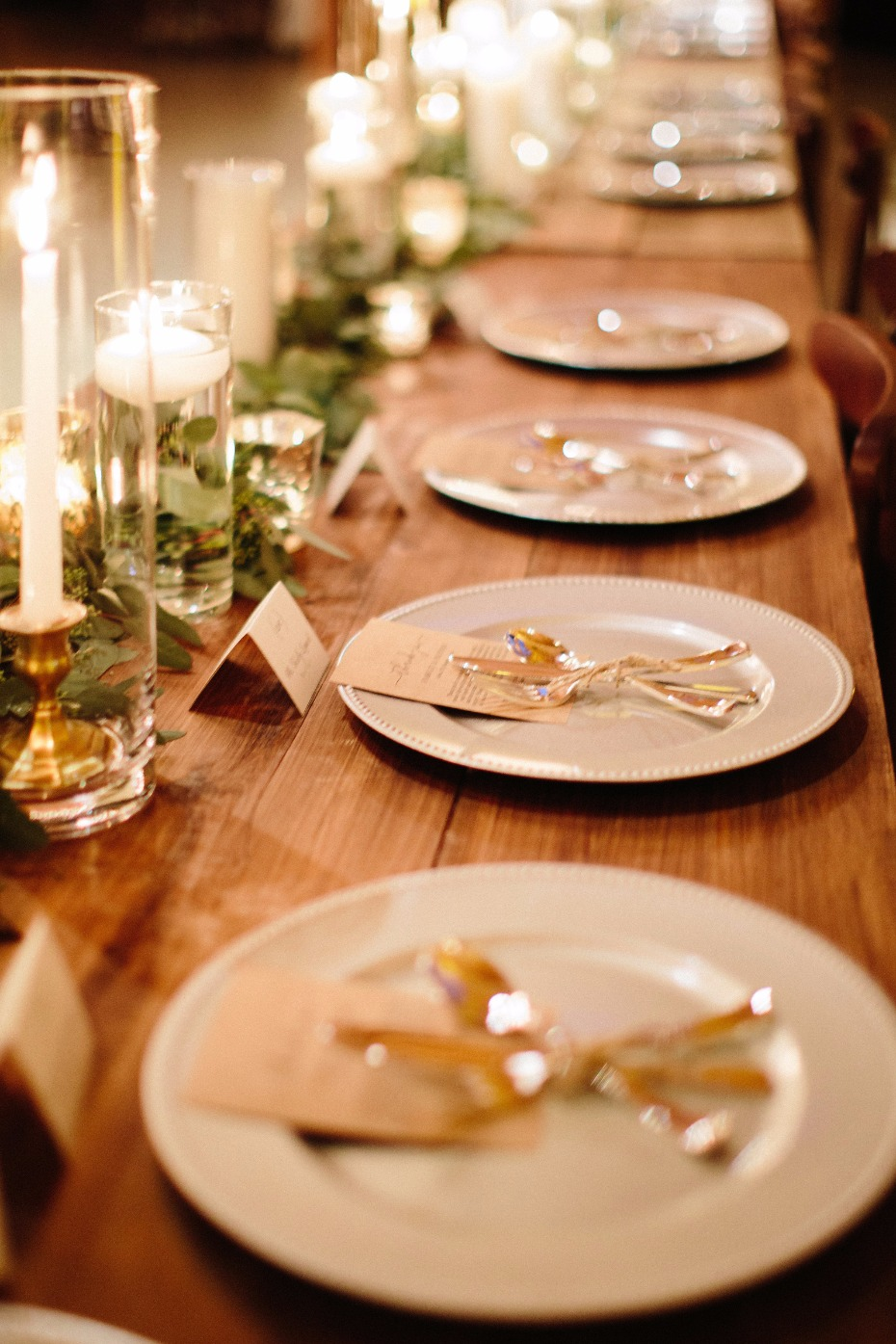 candle lit wedding table for your rustic fall wedding reception