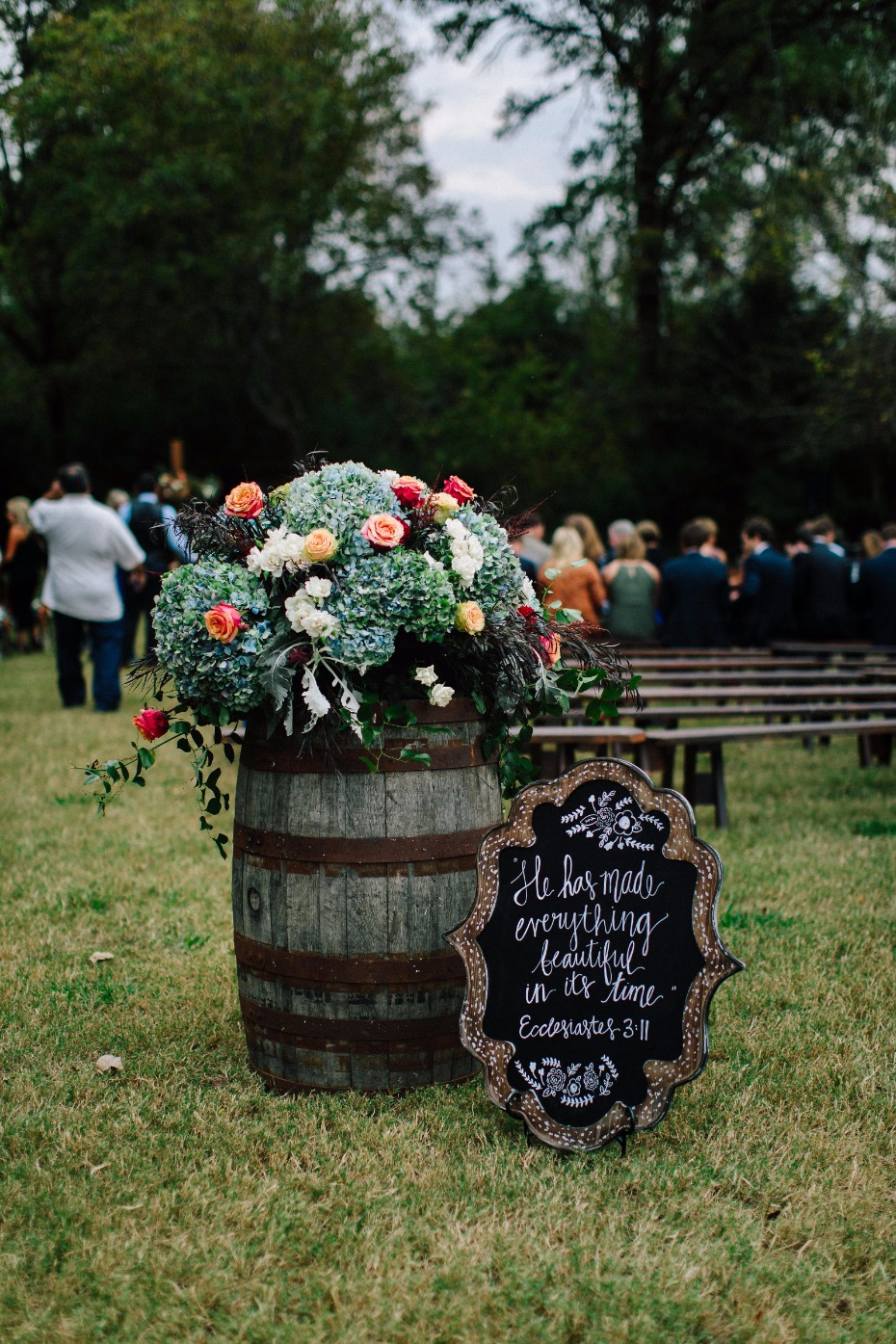 rustic wedding aisle decor with wedding sign