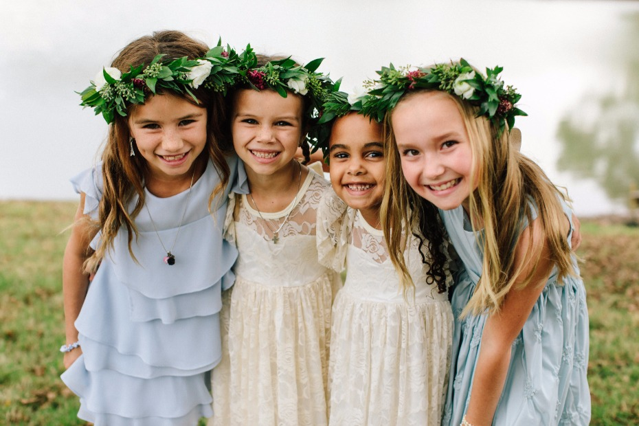 cute little flower girls and junior bridesmaids in floral halos