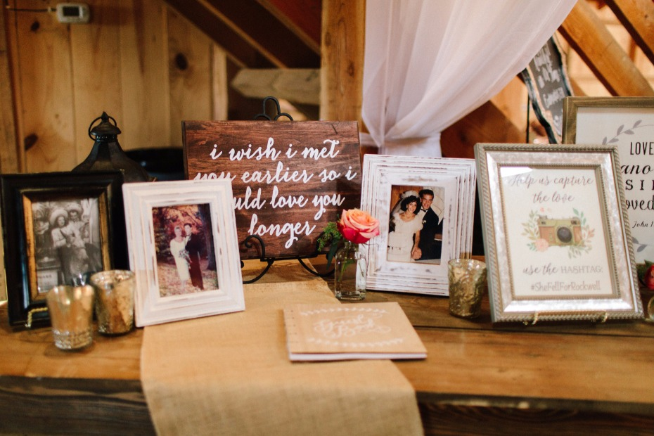 family wedding photos and guestbook table