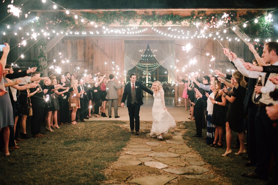 bistro lights and sparkler wedding exit