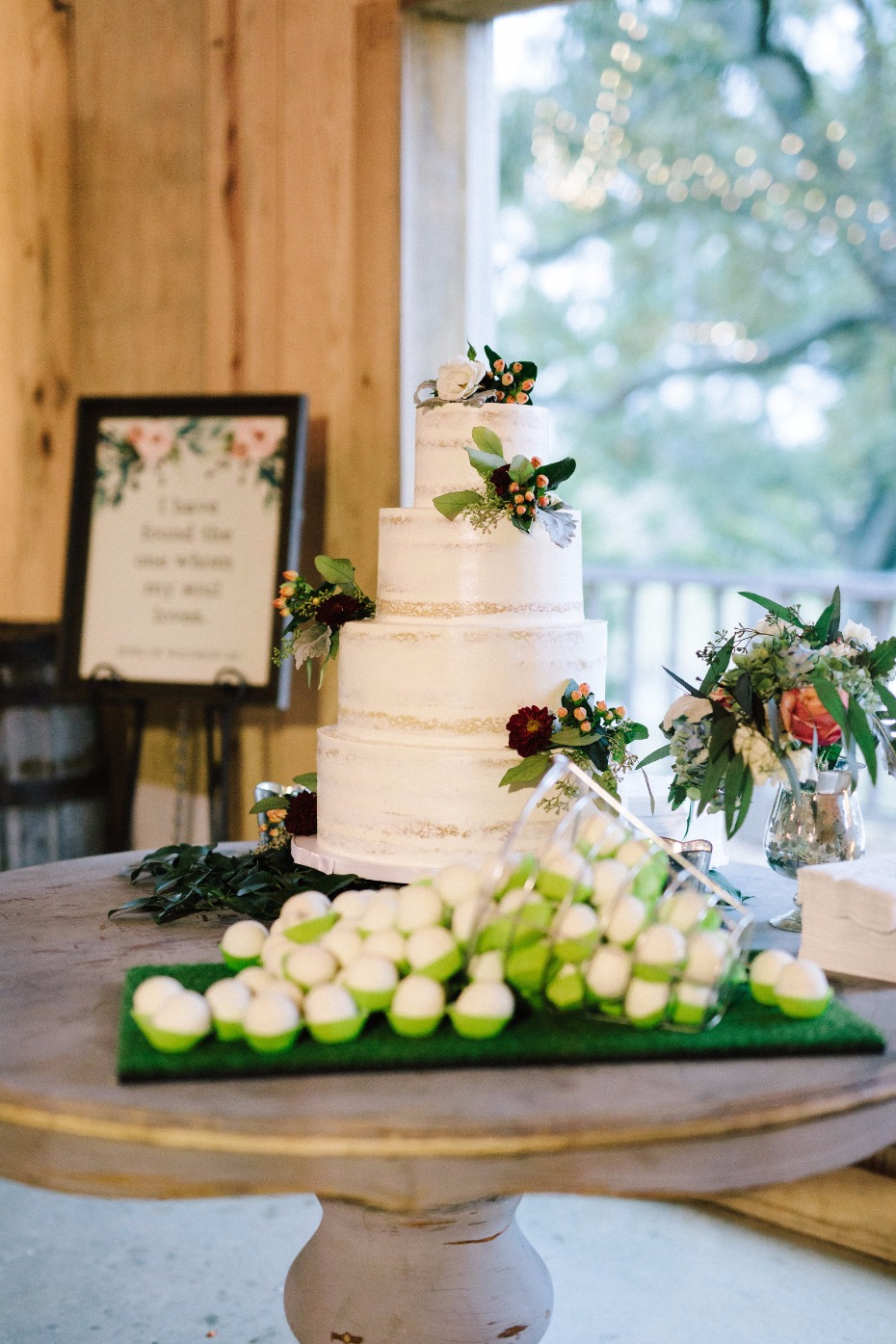 wedding cake and cute golf ball cake balls
