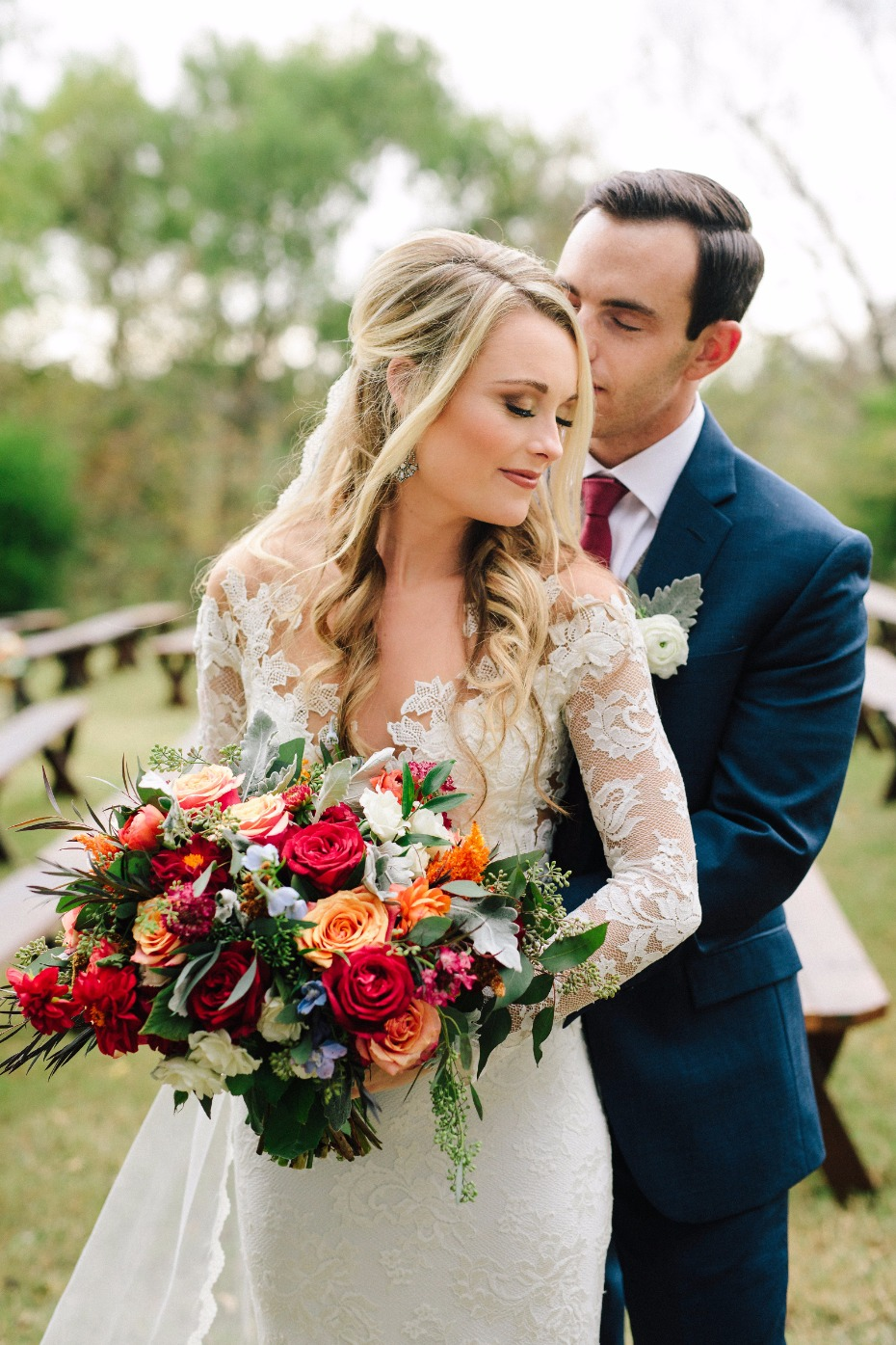 fall bride and groom wedding style