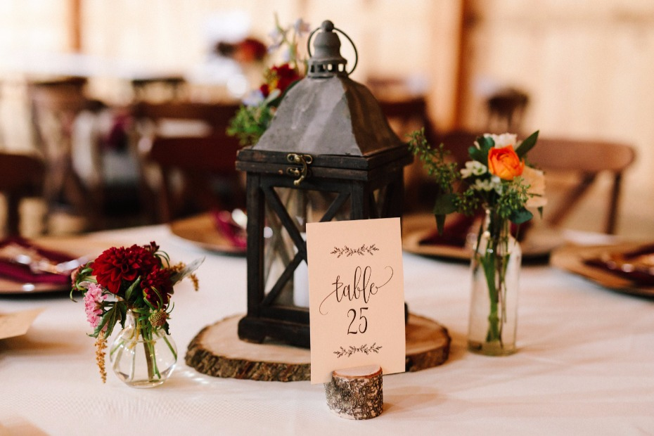 simple and chic rustic lantern centerpiece