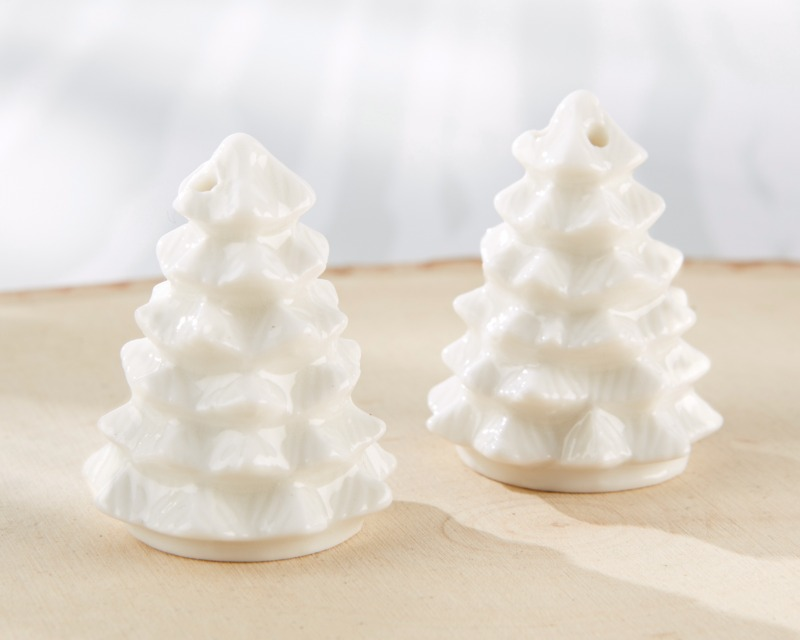❄ Bring the elegance of a winter wonderland to your tables with White Ceramic Pine Tree Salt & Pepper Shakers!