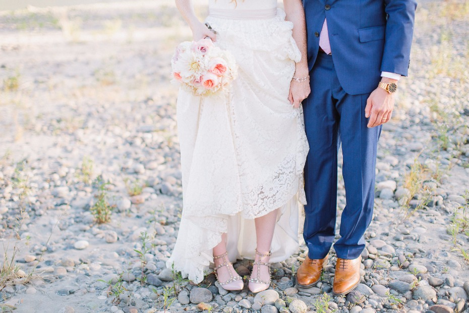 Stylish shoes for the bride and groom